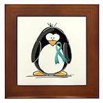 Teal Ribbon Penguin Framed Tile