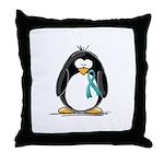 Teal Ribbon Penguin Throw Pillow