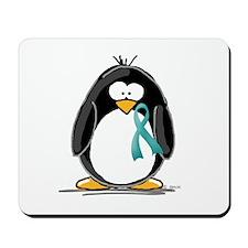 Teal Ribbon Penguin Mousepad