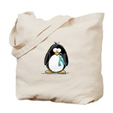 Teal Ribbon Penguin Tote Bag