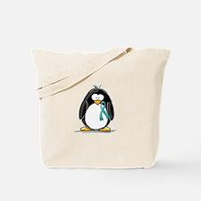 Teal Ribbon Penguin Tote Bag