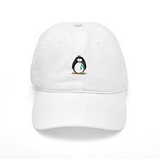 Teal Ribbon Penguin Baseball Cap