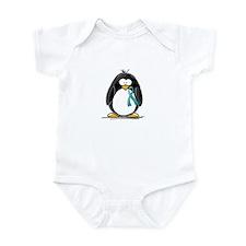 Teal Ribbon Penguin Infant Bodysuit