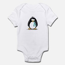 Teal Ribbon Penguin Infant Bodysuit