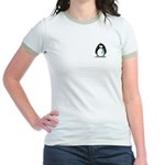 Teal Ribbon Penguin Jr. Ringer T-Shirt
