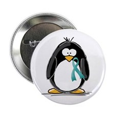 """Teal Ribbon Penguin 2.25"""" Button (10 pack)"""