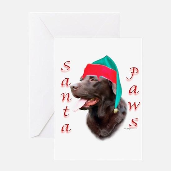 Santa Paws Chocolate Lab Greeting Card