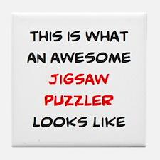 avid puzzle fan Tile Coaster