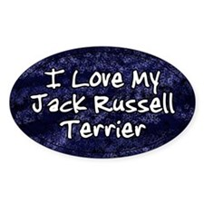 Funky Love Jack Russell Terrier Oval Decal