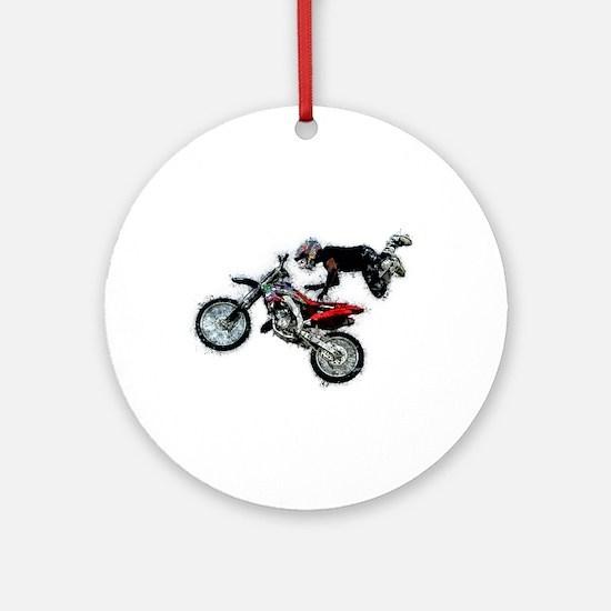 Motocross Jump Splatter Round Ornament