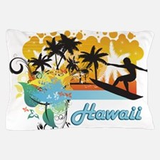 Ornate Tropical Paradise with Surfer T Pillow Case