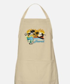 Ornate Tropical Paradise with Surfer TEXT HA Apron
