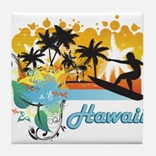 Ornate Tropical Paradise with Surfer Tile Coaster