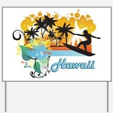 Ornate Tropical Paradise with Surfer TEX Yard Sign