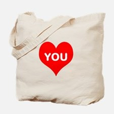 I Love You iheart u Tote Bag