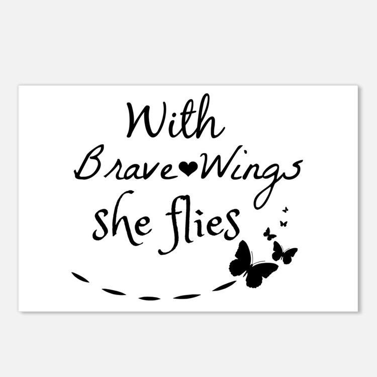 With brave wings she flie Postcards (Package of 8)