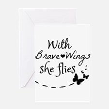 With brave wings she flies Greeting Cards