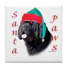 Santa Paws black Newf Tile Coaster