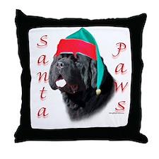 Santa Paws black Newf Throw Pillow