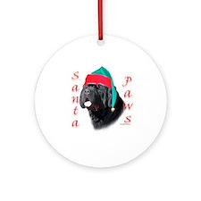 Santa Paws black Newf Ornament (Round)