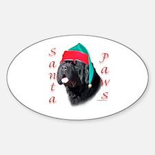 Santa Paws black Newf Oval Decal