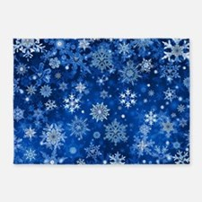 Christmas Snowflakes Blue White 5'x7'Area Rug