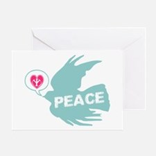 Peace Love & Dove Deco Art Greeting Card