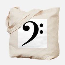 Trad Basic Black Bass Clef Tote Bag
