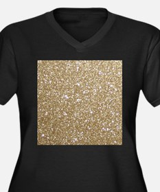 Girly Glam Gold Glitters Plus Size T-Shirt