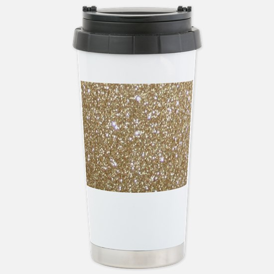 Girly Glam Gold Glitter Stainless Steel Travel Mug