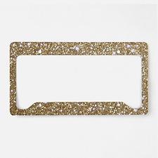 Girly Glam Gold Glitters License Plate Holder