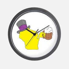 Wisconsin State Beer & Top Hat Wall Clock