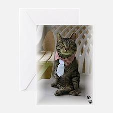 Cute Tabby cat christmas Greeting Card
