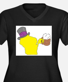 Wisconsin State Beer & Top Hat Plus Size T-Shirt