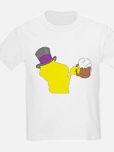 Wisconsin State Beer & Top Hat T-Shirt