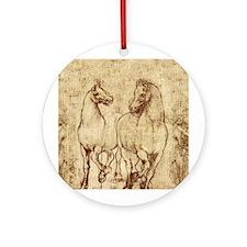 Leonardo da Vinci 2 Horses Christmas Tree Ornament