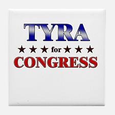 TYRA for congress Tile Coaster