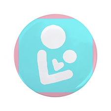 """3.5"""" Blue Breast Feeding Logo Button"""
