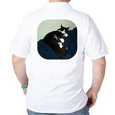 B&W Maine Coon Cat Draped T-Shirt
