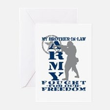 Bro-n-Law Fought Freedom - ARMY  Greeting Cards (P