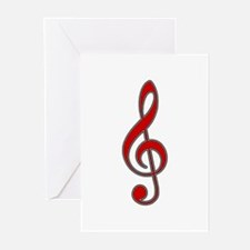 Retro Red Treble Clef Greeting Cards (6)