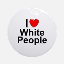 White People Round Ornament