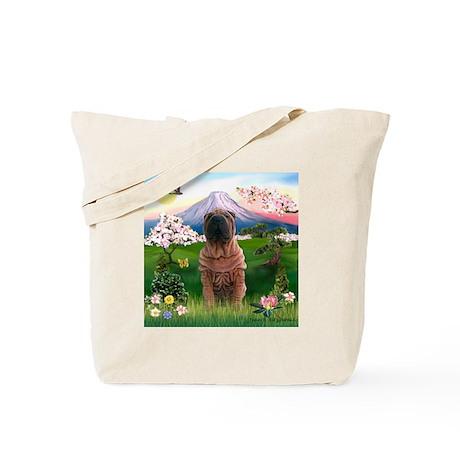 Mount Fuji Spring & Shar Pei Tote Bag