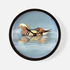 Wood Duck Watercolor Bird Wall Clock