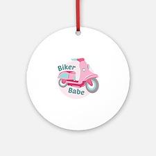 Biker Babe Round Ornament