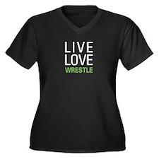 Live Love Wrestle Women's Plus Size V-Neck Dark T-