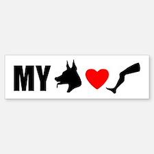 My Dog Hearts Leg Bumper Bumper Bumper Sticker