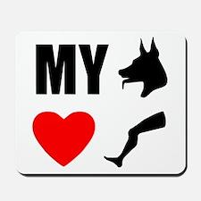 My Dog Hearts Leg Mousepad