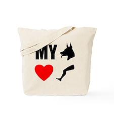 My Dog Hearts Leg Tote Bag