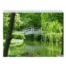 Cute Garden japanese bridge Wall Calendar